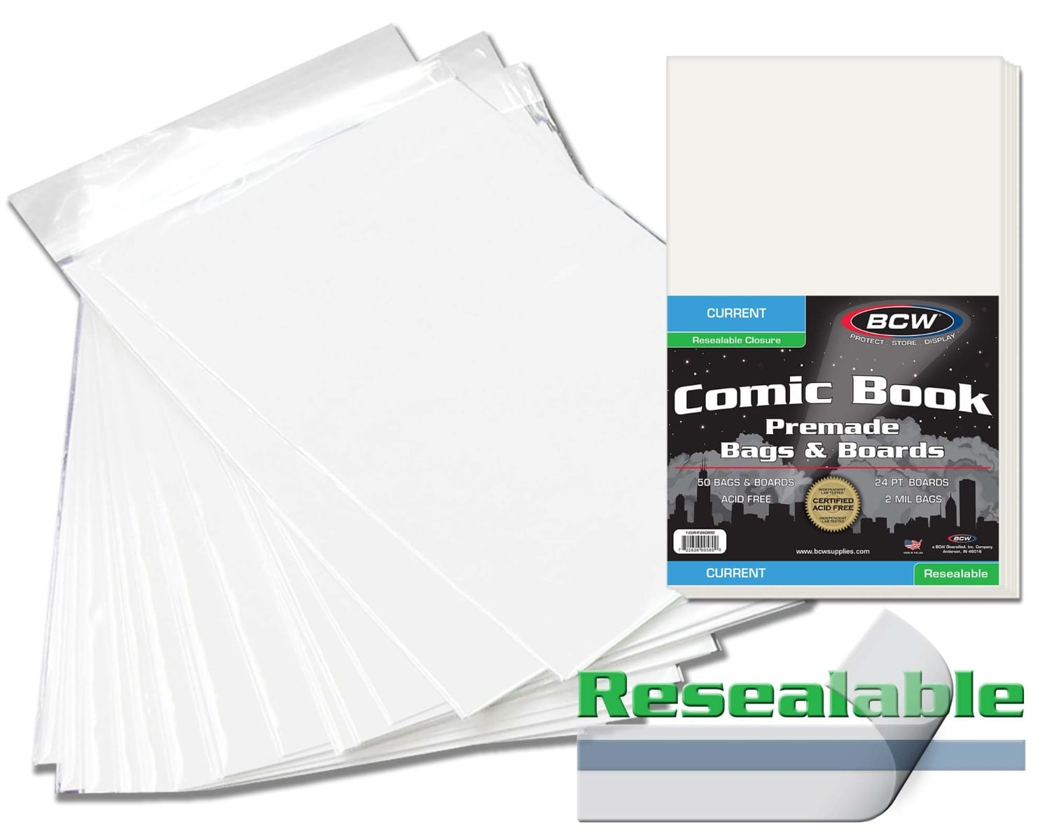 100 MODERN COMIC BOOK SIZE BAGS AND BACKING BOARDS BCW RESEALABLE CURRENT